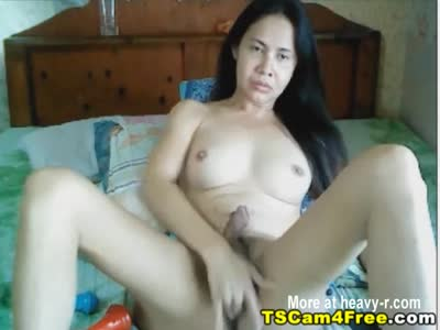 Hot Asian Shemale Swallows Own Cum