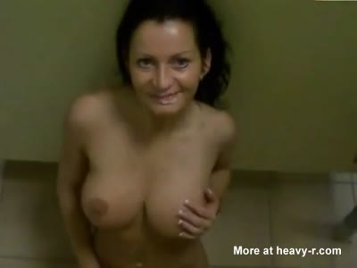 Facial For Horny Busty Brunette