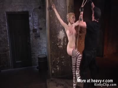 Clamped blonde in bondage pussy toyed