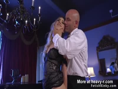 Gagged hairy pussy blonde fucked in bondage