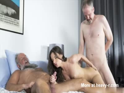 Old And Young In Threesome