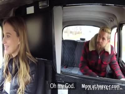 Bearded dude seduces female fake taxi driver
