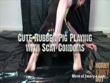 Cute Rubber Pig Playing with Scat Condoms