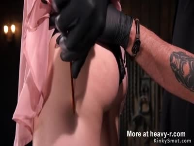 Slave wrapped in plastic gets tormented