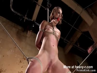 Clamped and gagged babe ass whipped