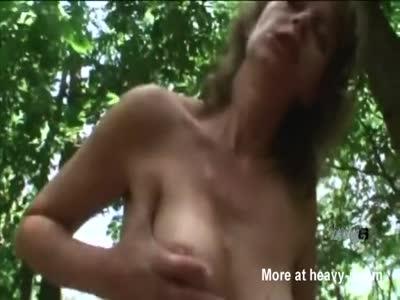 Hot mature slut likes to take stiff cock outdoors