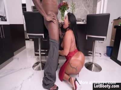 Fat ass brunette latina MILF PAWG gets big black dick
