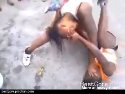 Black girls fight till naked