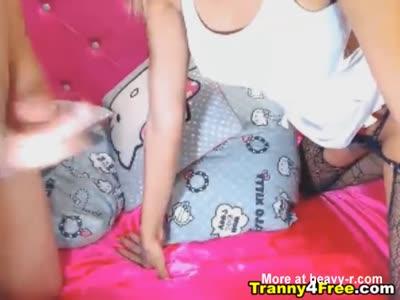 Blonde Tranny Babe Suck Her Partner Cock