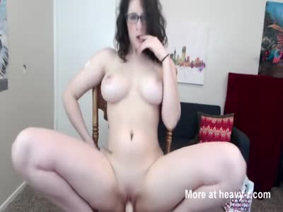 Busty Girl Riding Big Dildo