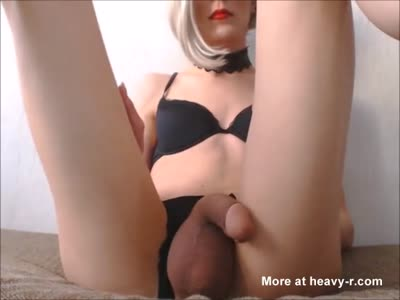 Teen Tranny Blonde Stroking Her Beautiful Cock