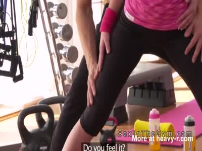 Fitness coach doggy style bangs blonde