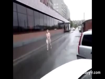 Naked russian lady walking in the street