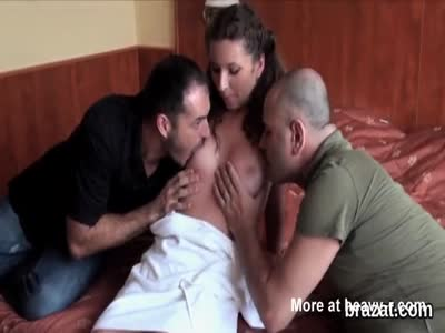 Two Guys Fuck Brunette On Casting
