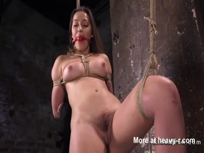 Hogtied busty babe hairy pussy fingered