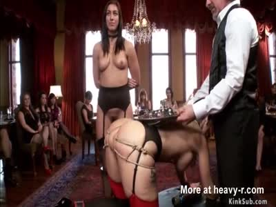 Slaves are anal fucked in orgy party