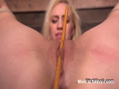 Blonde In Bondage Caned