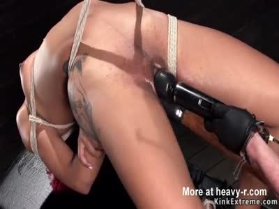 Ebony in extreme hogtie pussy toyed