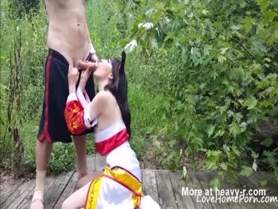 Gorgeous Cosplayer Sucking Cock