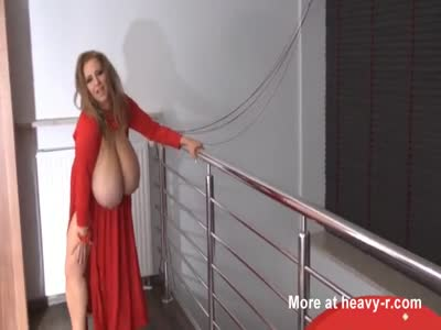 Giant tits wife in red dress