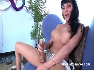 Hot shemale jerking off her big cock