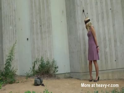 Blonde slave strip,blow and fuck