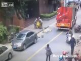 Rescue Workers Almost Hit By Suicidal Woman