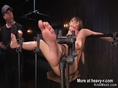 Busty babe tormented in device bondage