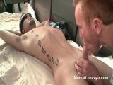 Tattooed guy takes his first gay blowjob