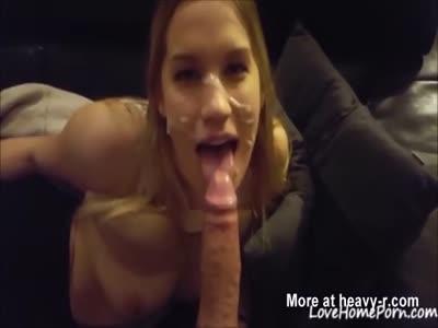 Sticky Facial For Teen Cock Sucker