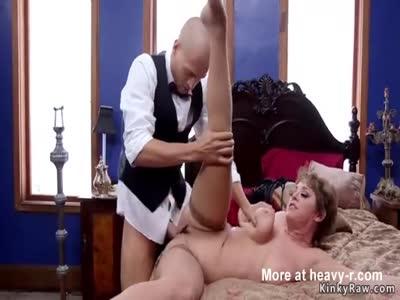 Big cock butler has bdsm threesome