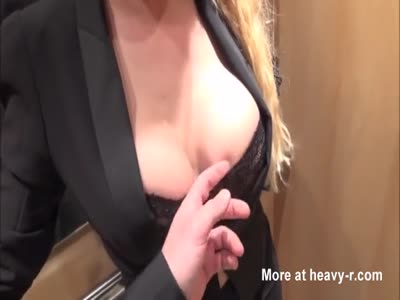Secretary fucked and facialized in elevator