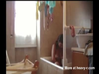 Hairy Sister Spied In Bathroom