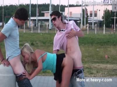 Threesome In Public