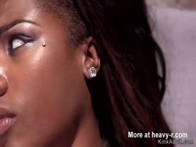 Ebony sub takes hogtie and torment