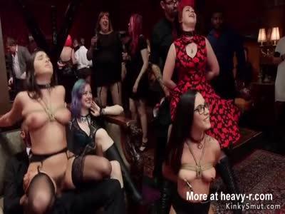 Women sucking on naked mans balls
