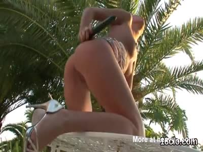 Kissable nympho is opening up slim pussy in close-up and cli