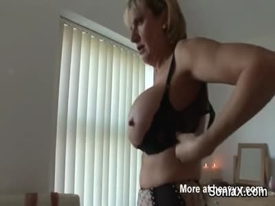 Mature Lotioning Big Boobs