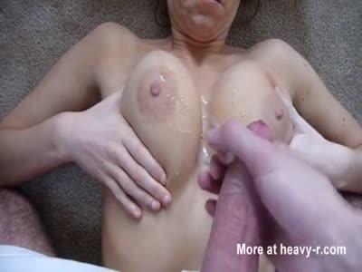 Cumshot On Wife's Big Tits