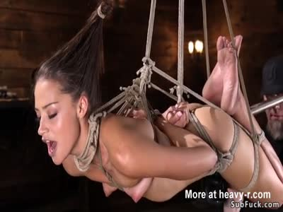 Dildo Fucked In Rope Suspension