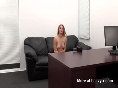 Blonde girl in casting couch