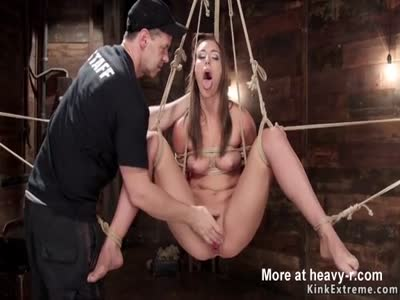 Fingering Girl In Hogtied Suspension
