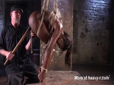 Hogtied And Flogged Ebony Drooling