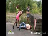 Sluts humiliate a homeless man