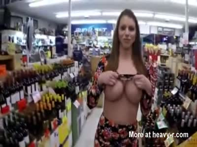 Flashing Massive Tits In Liquor Store