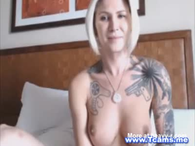 Busty Blonde Tranny Babe Maturbates Her Ass and Cock