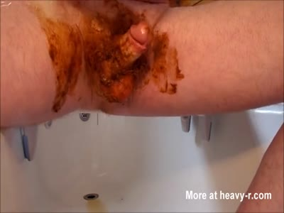 Jerking shit covered cock