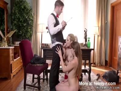 Master fucks hot slaves in bondage
